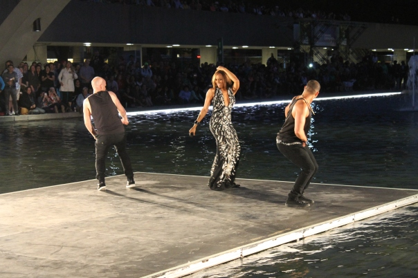 Deborah Cox performing at Nathan Philips Square during the Opening Ceremonies of World Pride