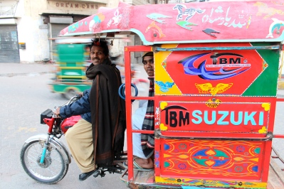 A rickshaw in Pakistan, where things seemed reasonably more calm, traffic-wise